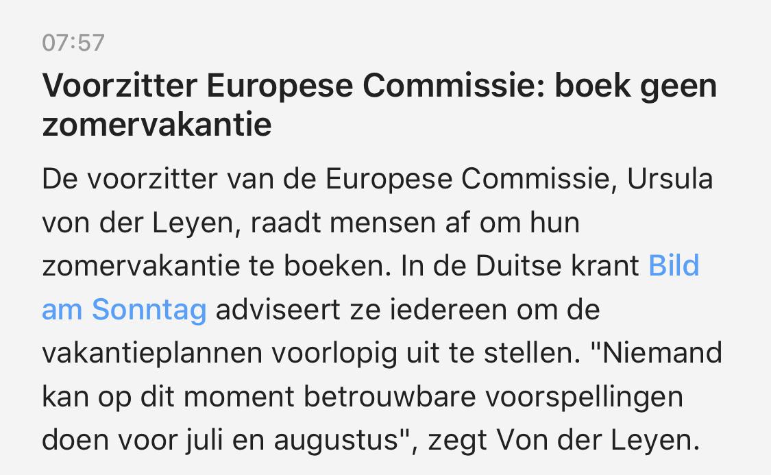 Voorzitter Europese commissie: boek geen zomervakantie