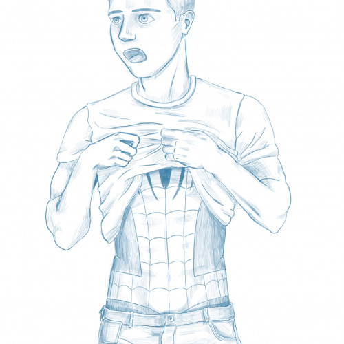 Dag 10. Iets meer kleding vandaag, maar ja, Spiderman is toch wel de halfnaakte jongen waar het allemaal mee begon, als je terugkijkt. #fanart